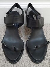 ANN DEMEULEMEESTER $715 black leather heels sandals size 36.5 WORN ONCE