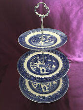 Vintage Alfred Meakin 'Old Willow' 3 Tier Cakestand Blue & White Transferware