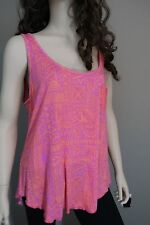 Women's Billabong Bright Pink And Orange Tribal Loose Fit Tank Top With Pocket