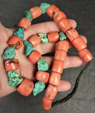 OLD TIBETAN FINE QUALITY TURQUOISE & CORAL BEAD NECKLACE.