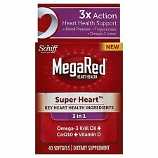 Megared Heart Omega 3 Krill Oil Plus COQ10 and Vitamin D, 40 count