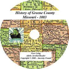1883 - GREENE County Missouri MO -  History & Genealogy Ancestry Family - CD DVD