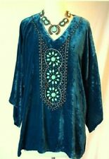 DOUBLE D RANCH M NAVAJO TEAL & TURQUOISE CRUSHED VELVET TUNIC TOP BLOUSE NEW