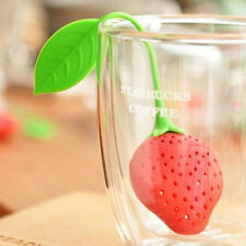 Reuseable Silicone Red Strawberry Tea Bag Holder Punch Filter Infuser Strainer