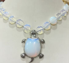 New 12mm coin Sri Lanka Moonstone Gems Tortoise Pendant Necklace 18 '' AAA +++