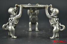 China Collectible Noble Decorate Old Miao Silver Carve 3 Dog Hold Candlestick