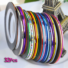 32 pcs nail Sticker Fil Bandes Striping Tape Autocollant Manucure Ongle WT