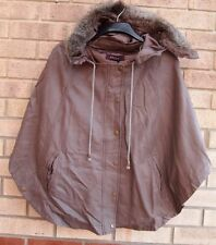 STOLEN TAUPE FAUX LEATHER FAUX FUR COLLAR PONCHO BELTED CAPE COAT JACKET 12 M