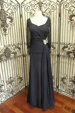 V42 CM COUTURE 1048 SZ 18 NAVY $995 #1464 FORMAL MOTHER OF THE BRIDE GOWN DRESS
