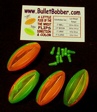 "(4) 2"" Bullet Bobbers - mini planer boards - steerable fishing floats"