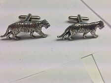 Tiger pair of Cufflinks Made In Sheffield English pewter code.PP A09