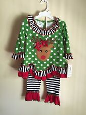 BONNIE JEAN Christmas Red Nose Reindeer Dress Leggings Holiday Outfit Size 2T