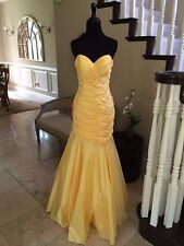$375 NWT YELLOW MERMAID WOW PROM/PAGEANT/FORMAL DRESS/GOWN CB3012 SIZE 4 6