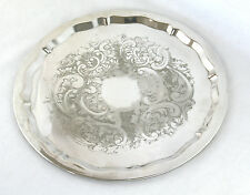Vintage Silver Plated Drinks Serving Tray Round Falstaff England