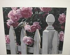 MILLIE'S GARDEN BY TERRY ISAAC S/N PRINT PINK ROSES WHITE PICKET FENCE BIRD NEW