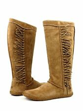 Ugg Australia Mammoth Chestnut Brown Suede Leather Fringe Side Zip Boot Size 6