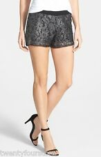NWT $88 LA Made LAMade Mayra Metallic Foil Lace Shorts in Black sz M