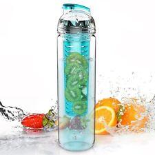800ml FRUTTA Infusore Bottiglia D'acqua Sports Salute Bevanda Succo di Frutta Infondendo Palestra Blu