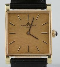 Vintage 18k Yellow Gold Baume & Mercier Hand-Winding Watch w/ Black Leather Band