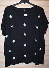 NEW TORRID WOMENS PLUS SIZE 4X 4 BLACK W BLINGY GLITTER STARS STAR TEE SHIRT TOP