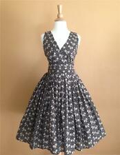 50s Vtg Style Twirl Bows and Polkadots Pinup Swing Dress Small.
