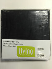 LIVING FROM ARGOS EGYPTIAN COTTON FITTED SHEET DOUBLE BLACK