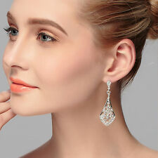 Women Silver Color Bling Bride wedding Party Crystal Long Earrings Ear Hook Drop