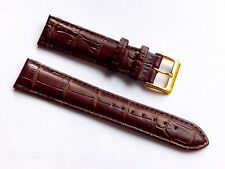 Quality Lug 20mm Brown Genuine Calf Leather Alligator Grain Strap Fits Any Watch