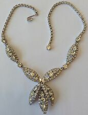 VINTAGE WEISS SIGNED CLEAR RHINESTONE NECKLACE SA88