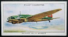 HEINKEL HE111    Luftwaffe Bomber    Vintage 1930's Colour Card  VGC
