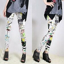 US Stock Cool Painted Graffiti Color Sunflower Fashion Slim Women Leggings Hot
