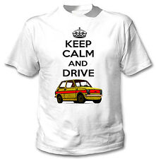 POLISH FIAT 125P YELLOW INSPIRED KEEP CALM AND DRIVE - WHITE COTTON TSHIRT