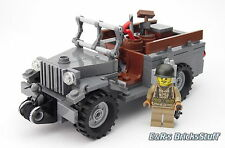 Ww2 CUSTOM US wc51 JEEP CON MINI PERSONAGGIO & Accessori, Brickarms, da LEGO ® pietre