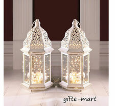 """2 large White Moroccan 16"""" tall shabby distressed Candle holder lantern terrace"""