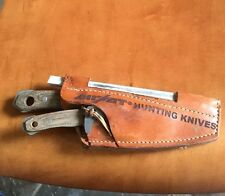 AIRKAT WOLFPAK CUSTOM HUNTING KNIFE SET WITH LEATHER SHEATH By DWAINE CARRILLO