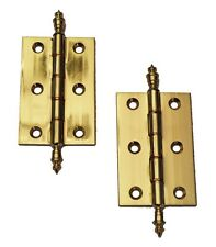 Solid polished Brass Decorative Finial Cabinet Door Butt Hinges (No.85-75mm)
