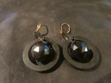 Fabulous Victorian Carved Whitby Jet Articulated Drop Leverback Earrings