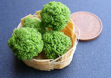 1:12 Broccoli (4) In A Basket Dolls House Miniature Vegetable Kitchen Accessory