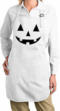Ladies Halloween Black Jack O Lantern Full Length Apron with Pockets