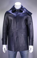 New! * BURBERRY * London Navy Blue Smooth Lambskin Leather Hooded Coat Jacket 40