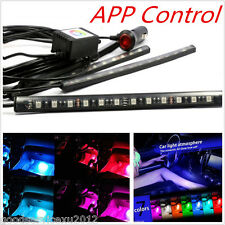 4 x RGB 9LED Car Interior Footwell Atmosphere Light APP Music Control Waterproof