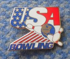 USA BOWLING FEDERATION UNION 1980's ENAMEL PIN BADGE