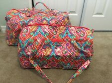 Vera Bradley PAISLEY IN PARADISE Large & Small Duffel Bag Set Luggage Travel NEW