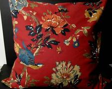 """POTTERY BARN Floral Red Background, Blue Bird 24"""" sq Pillow Cover - UNUSED"""