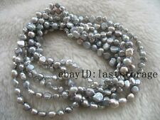 """wholesale  freshwater pearl gray  baroque 6-8mm necklace 60"""" nature beads"""