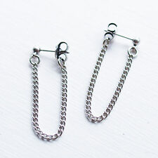 Front to Back Chain Stud Ear Posts Drop Earrings Simple Plain Minimalist UK