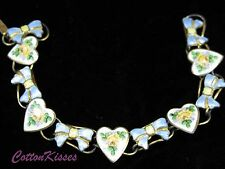 Vintage BRACELET STERLING Silver Blue Yellow Bows ROSES HEARTS VALENTINE'S DAY