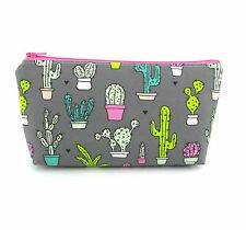 Cosmetic Bag, Zip Pouch, Makeup Bag, Pencil Case, Small Bag - Cactus on Grey