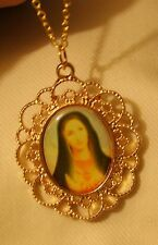 Lacy Scalloped Goldtone Peach & Blue Immaculate Heart Medal Pendant Necklace