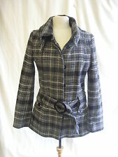 Ladies Coat - Jane Norman, size 12 EU 38, black/white check, 55% wool, used 7431